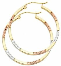 Solid 14K Yellow Gold 1.5mm Tri-color Diamond Cut Hoop Earrings