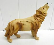 Mme 932 Medium Standing Wolf Unison Wood Look Statue Figurine Decoration