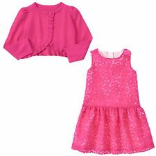 Gymboree 2T EASTER EGG HUNT FUCHSIA PINK ORGANZA DRESS CROPPED CARDIGAN SWEATER