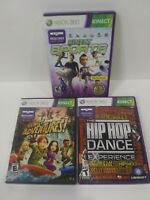 Kinect Sports , Kinect Adventures , Hip Hop Dance - Lot Of 3 Xbox 360 Games