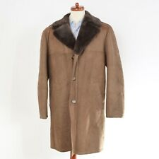 Shearling Mantel Coat Gr 56 Leder Leather Braun Brown Herbst Lammfell Tan Taupe