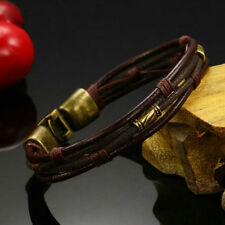 Men Genuine Leather Stainless Steel Cuff Bangle Braided Bracelet Wristband Brown