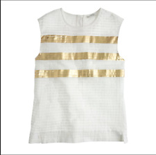 J CREW collection pleated metallic tank top shirt white gold boho Size 2 small