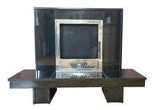 Black Granite Hole In The Wall Fireplace Retro Vintage RARE Solid Fuel, Gas