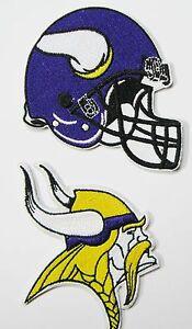 1 LOT OF (2) NFL MINNESOTA VIKINGS EMBROIDERED HELMET & LOGO PATCHES ITEM # 25