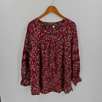 Belle Curve Womens Size 20+ Blouse Deep Red White Floral Long Sleeve V-Neck