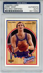 Jerry West Signed 1992 Upper Deck Basketball Heroes Card 4/9 PSA Slab 32896