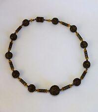 LOVELY VINTAGE Art Deco Filigree Brass Yellow Glass Bohemian Czech Bead Necklace