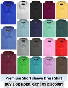 Mens Solid SHORT SLeeve Premium Regular fit Dress Shirts, 26 colors, size S~5XL