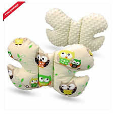 Infant Baby Toddler car seat, stroller butterfly head support cream/owls yellow