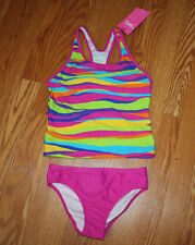 NWT Girls SPEEDO Multi Color STRIPED Racerback Two Piece Swimwear Swimuit Sz 14