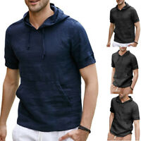 Men's Stripe Hooded Pullover Shirt Short Sleeve Linen T-shirt Slim Fit Tops GIFT