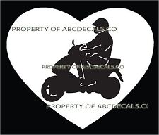 HEART I LOVE MOTORYCLE Bike Scooter Vespa Electric Gas Car Decal Wall Sticker