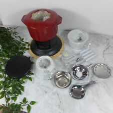 Vintage Cuisinart Esmalte Rojo Hierro Fundido Fondue Lote Casa Conjunto con /