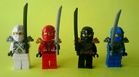 4x Lego Ninjago Ninja  Zane Jay Kai Cole Samurai Figuren mit Waffen Minifiguren