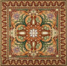 """20"""" DECORATIVE TAPESTRY PILLOW / CUSHION COVER Green & Orange Floral Ornament"""
