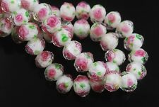 8pcs White/Green Faceted Glass Crystal Rose Flower Inside Loose Beads 12mm DIY
