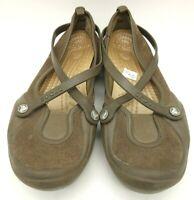 Crocs Brown Rubber Sole Cross Strap Casual Slip On Comfort Flats Shoes Women's 7