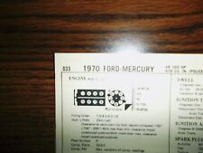 1970 Ford & Mercury Police Interceptor 360 HP 428 CI V8 4BBL SUN Tune Up Chart