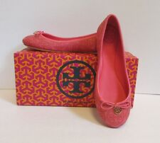 Tory Burch Chelsea ballet flat stitched rose petal shoe  logo leather pink 10