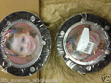 Two Sided Round Magnetic Frame 5 1/2 John Hardy Dot Silver Black Palm Wood Large