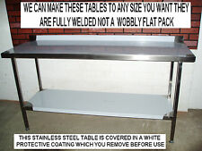 MADE TO MEASURE STAINLESS STEEL PREPARATION TABLE SHELF FULLY WELDED + ASSEMBLED