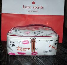 Kate Spade New York Lips Kiss Me Large Colin Cosmetic Case Bag USED