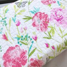Cynthia Rowley Queen Quilt Shams Set Floral Butterfly Pink Green cotton new