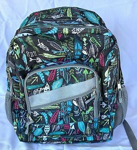 LL Bean Deluxe Backpack Periwinkle Sky Chevron PF505445 Book Bag Purp/Blue RARE