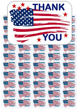 """50 American Flag Thank You Envelope Seals / Labels / Stickers, 1"""" by 1.5"""""""