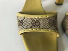 GUCCI GG monogram yellow heels sandals shoes 36.5 UK 4