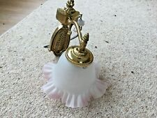 Single Bhs  wall light. Brass/Frost White Shades tinged with pink