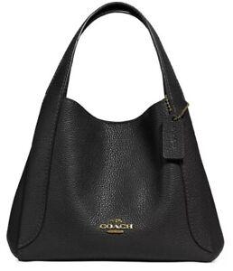 ❤️ Coach Hadley Polished Pebble Leather Black/Gold Hobo 21