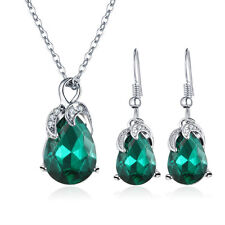 Emerald Green Vintage Style May Birthstone Jewellery Set Earrings Necklace S932