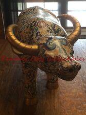 """34"""" Old HUGE Floor Standing Enamel Bronze Cloisonne Ox Bull Statue Figure"""