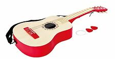 Hape E0325 Early Melodies Vibrant Red Guitar Wooden Instrument For Kids NEW