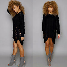 Womens Long Sleeve Knitted Sweater Knitwear Oversize Ladies Jumper Dress UK 6-16