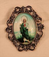 St. Jude Thaddeus Healer Medal Festooned Rim Bow Top Goldtone Religious Brooch