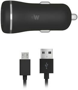 Just Wireless 17 Watt Vehicle Car Charger with Micro-USB Cable - Black
