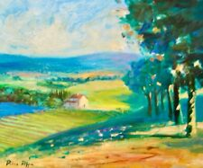 AskArt Listed Artist Nino Pippa Orig Painting Tuscan Landscape Lavender Field