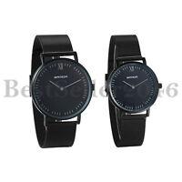 His and Hers Ultra Thin Slim Quartz Couple Wrist Watch Black Steel Mesh Bracelet