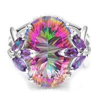 925 Silver Mystic Rainbow Topaz Gemstone Ring Women Wedding Engagement Jewelry