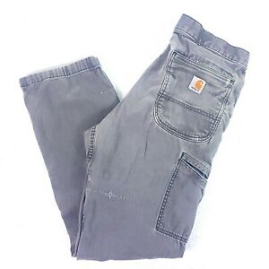 Men's Carhartt Relaxed Fit Double Knee Stretch Gray Denim Work Pants Size 33x31