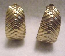 """Vintage 1980's  Clip On Hoop Earrings  1 1/4""""  x 3/4"""" Gold Tone Metal"""