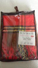Rare Vintage Troy Leisure Blanket Red Pecan Brown Plaid w/ Fringe New In Bag