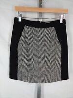 J Crew Factory Mini Skirt Size 00 Black White Zig Zag Wool Blend Tweed Pockets