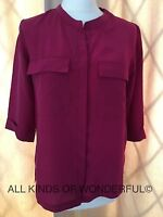 Pyrus Joni Berry 3/4 Sleeve Blouse  Concealed Opening 100% Silk  RRP£175 BNWT