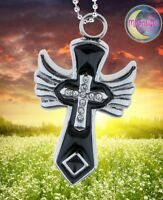 New Black Enamel Wings Cross Crystal Urn Cremation Memorial Necklace