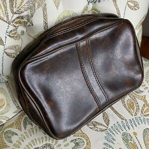 Retro Vintage Men's Shaving Travel Toiletry Bag Brown Zip Lined Vegan Leather