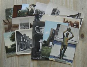 17 x Early Unused Warwickshire Colour & B&W Postcards –– All Listed